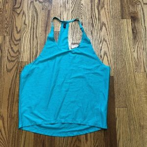 Onzie teal mess work out T back Top